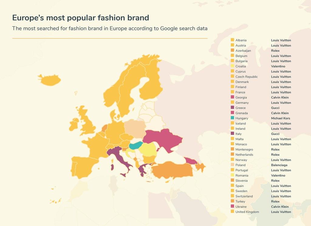 Κυριάρχησε η Louis Vuitton μεταξύ των χωρών της Ευρώπης