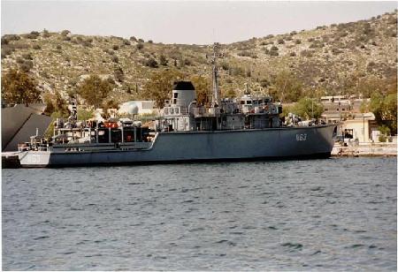 Το ναρκοθηρευτικό πλοίο Καλλιστώτου Πολεμικού Ναυτικού