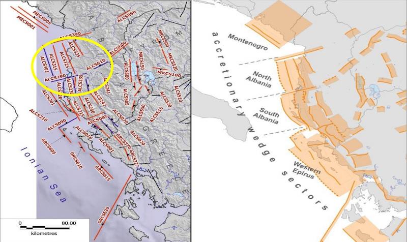 """Αριστερά τα ενεργά ρήγματα Αλβανίας και Δυτικής Ελλάδος, ως σεισμογενετικές πηγές, ως γραμμικά στοιχεία και δεξιά ως """"επίπεδα"""" (ζώνες). Το Ανάστροφο Ρήγμα Δυρραχίου (Dures) με κωδικό ALCS301 και το αντιθετικό του ALCS 325, όπως προκύπτει από τα πρώτα σεισμολογικά δεδομένα ενεργοποιήθηκαν στον πρόσφατο σεισμό, καθώς επίσης και άλλα μικρότερα ρήγματα της ίδιας γεωτεκτονικής δομής / Φωτογραφία: ΑΠΕ-ΜΠΕ"""