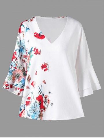 bluza de vara cu imprimeu floral si maneci clopot