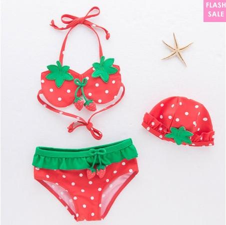 strawberry pattern swimsuit girl