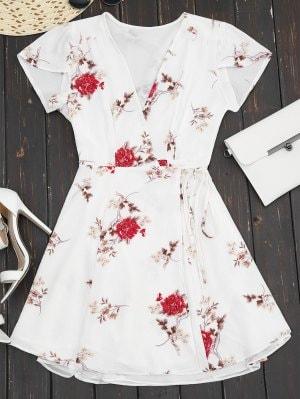 WhitePlunge Cap Sleeve Floral Wrap Dress