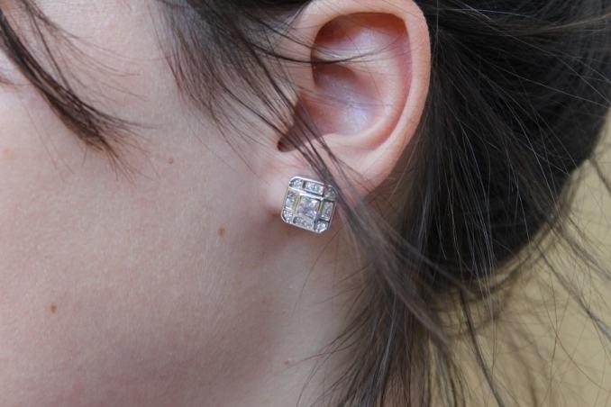 cercei argint placat cu rodiu si zirconii albe de pe Wild Fashion