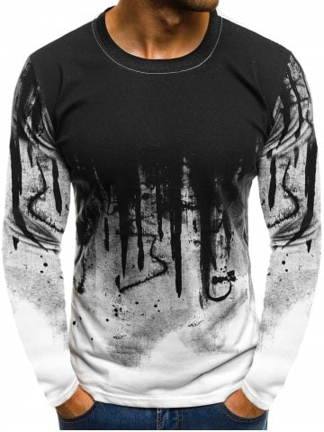 Ink Painting Print Long Sleeve Casual T-shirt