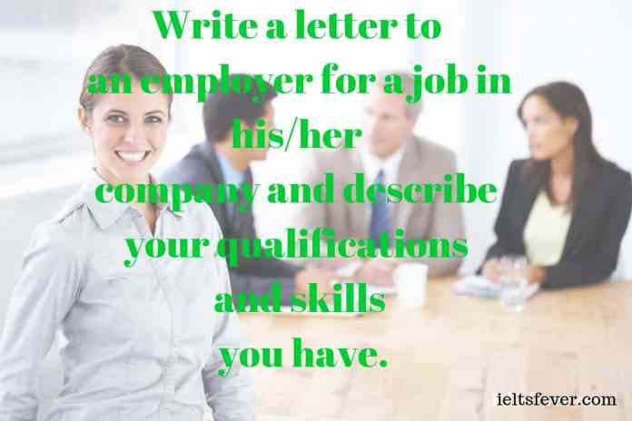 Write a letter to an employer for a job in his/her company and describe your qualifications and skills you have public speaking skills work