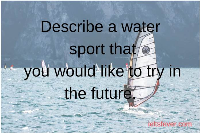 Describe a water sport that you would like to try in the future India is a diverse country and there is so many waters sport available in India swimming