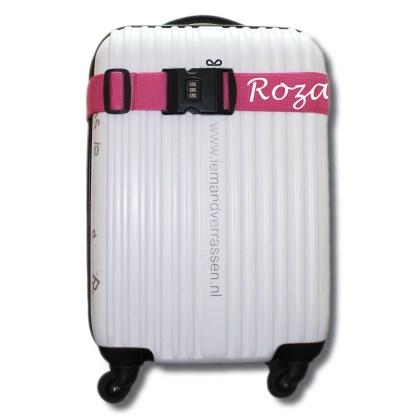 kofferriem roze met tekst Roza