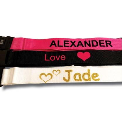 kofferiem diverse kleuren met tekst Alexander, Jade , love