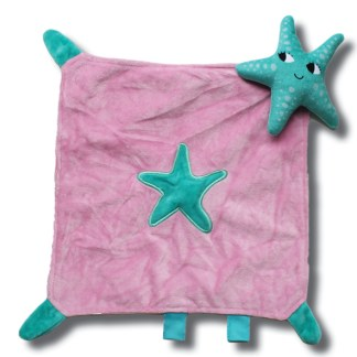 knuffeldoek zeester groen en roze