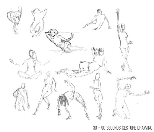 30 - 90 seconds gesture drawing