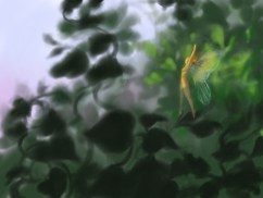 Fairy in the forest digital painting