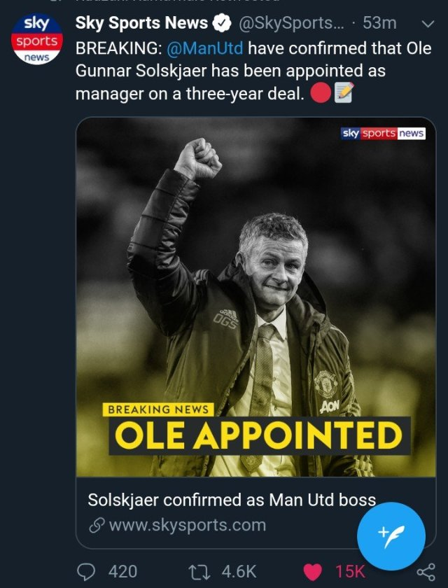 Just In: Ole Solskjaer finally Appointed ManUtd manager on a 3-year deal.