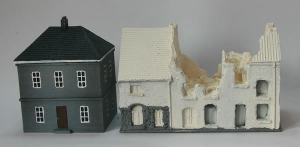 15mm Total Battle Miniatures ruins and how they compare to the new buildings from Battlefront for Flames of War