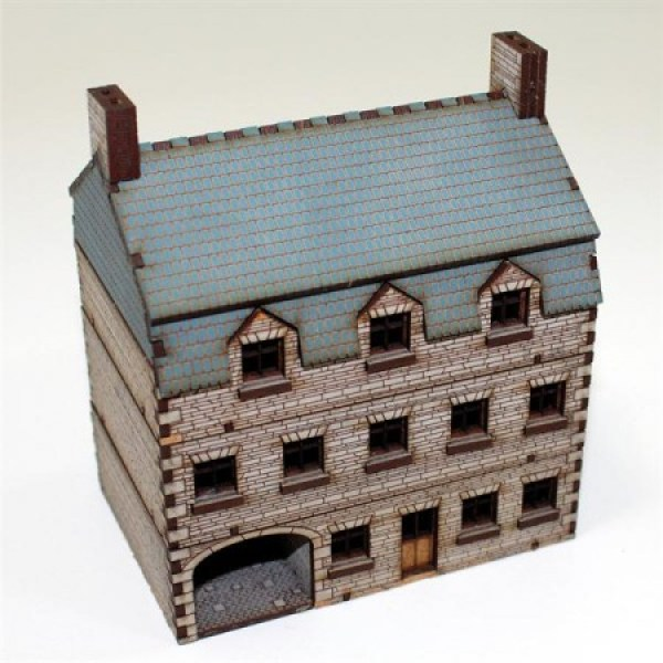 Northwest European Hotel with coarse stone walls and coaching arch; a great focal point or objective for any 15mm gaming table.