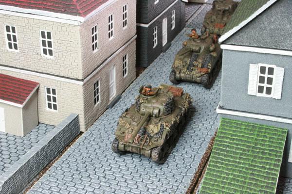 Column of Sherman Tanks