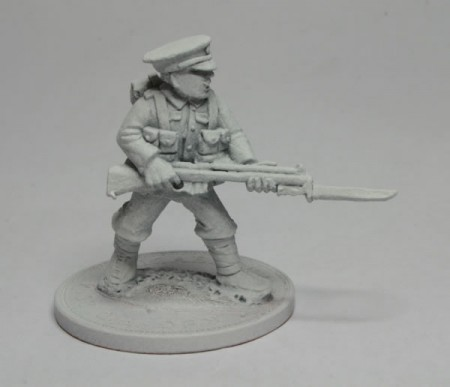 1914 British Infantryman on guard with rifle and bayonet