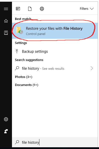 restore your files with file history