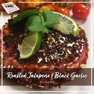 Roasted Jalapeño and Black Garlic Burger
