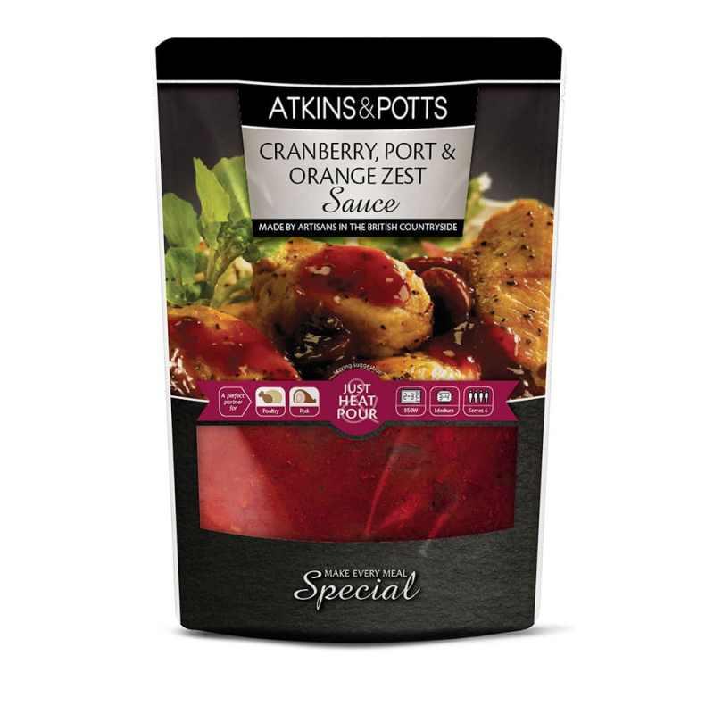 Previous pack design of Atkins & Potts Cranberry, Port & Orange Zest Sauce
