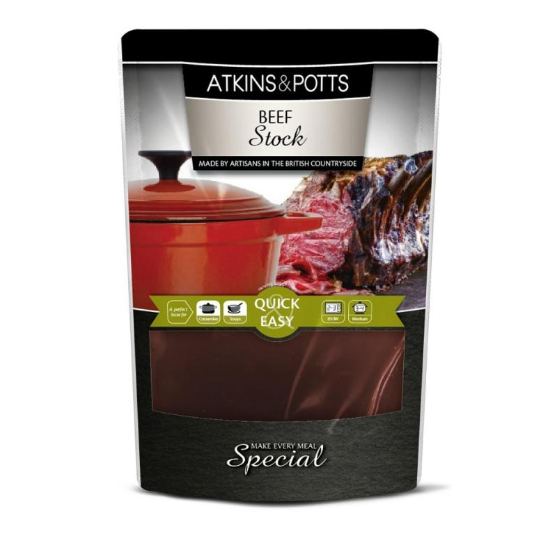 Previous pack design of Atkins & Potts Beef Stock