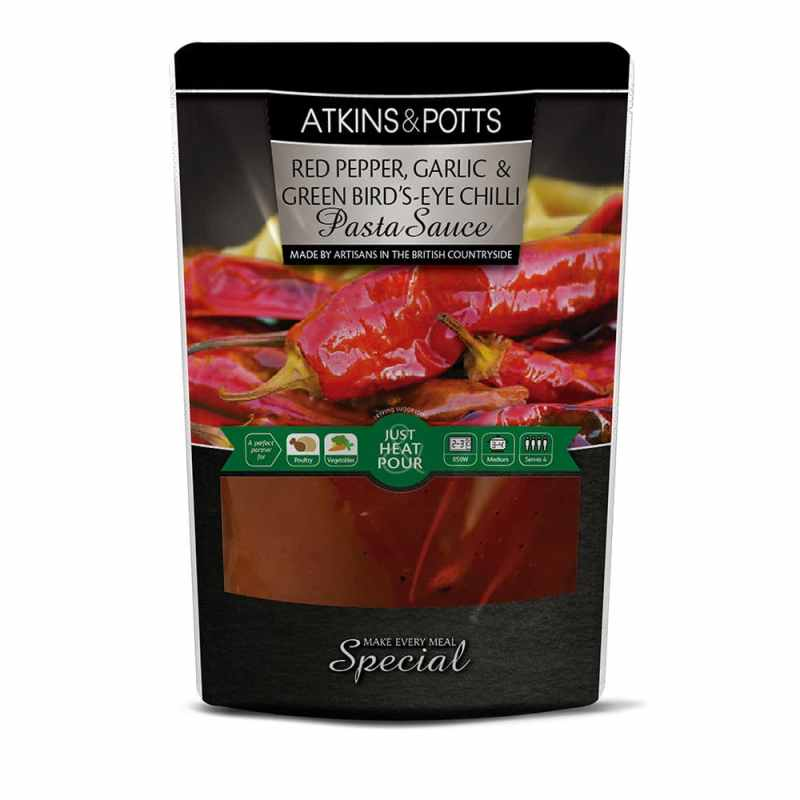 Atkins & Potts Red Pepper, Garlic & Green Birds-Eye Chilli Pasta Sauce