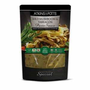 Previous pack design of Atkins & Potts Wild Mushroom & Tarragon Pasta Sauce