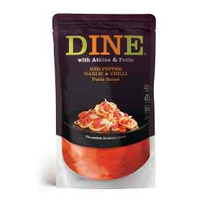 DINE IN with Atkins & Potts Red Pepper, Garlic & Green Birds-Eye Chilli Pasta Sauce