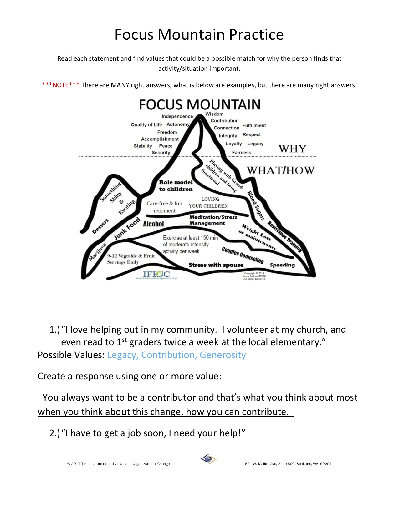 Skill Building Worksheets Recognizing Values Answer Key