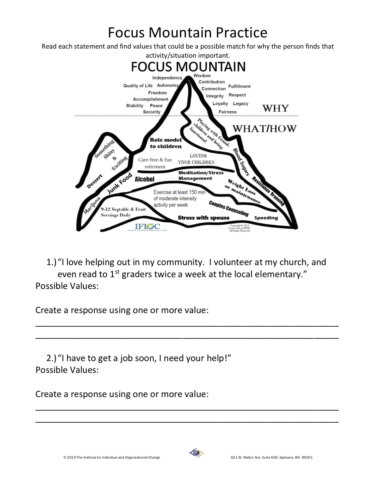 Skill Building Worksheet Recognizing Values Worksheet