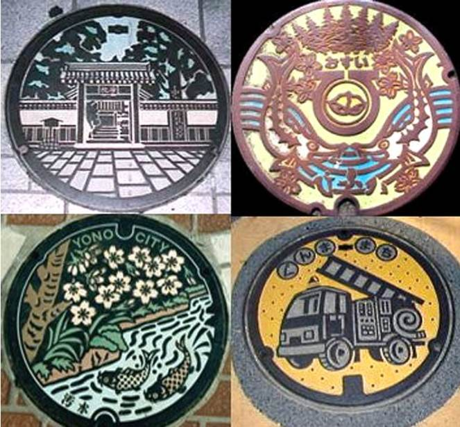 colored manhole covers