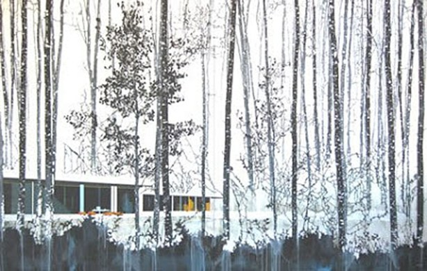 Snow Trees and Modern Home (diptych)