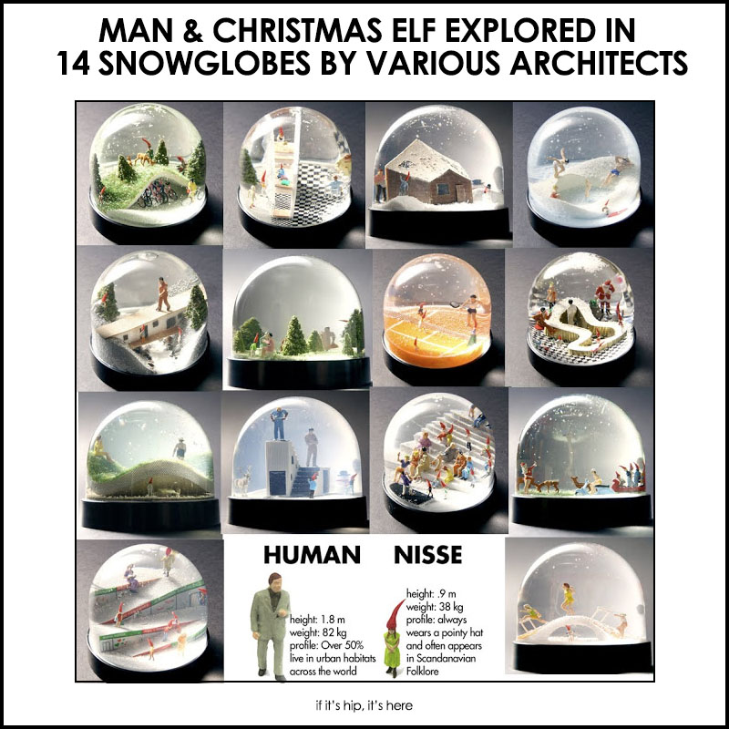 Man and Christmas Elf Snowglobes