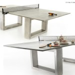 Modern Concrete & Steel Ping Pong Table Doubles As Indoor/Outdoor Dining Table.