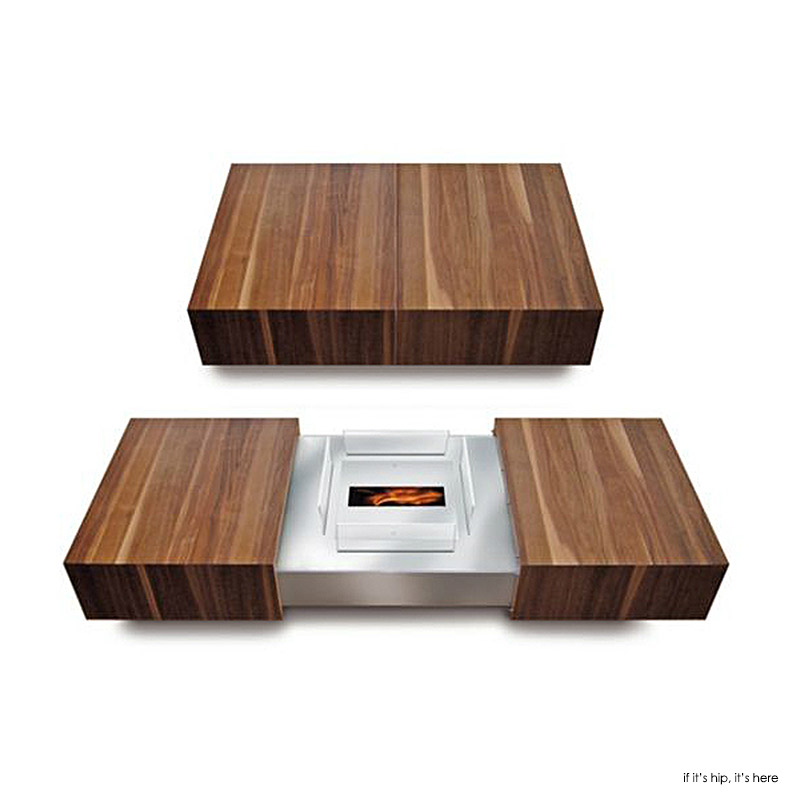 Combination Coffee table and fireplace