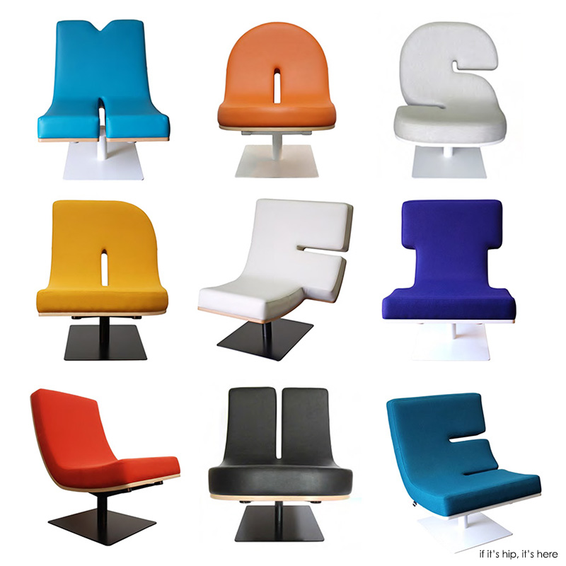 Typographic furniture chairs that talk and lamps that for Chair design terminology