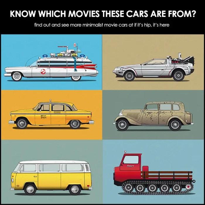 famous movie car minimalist posters