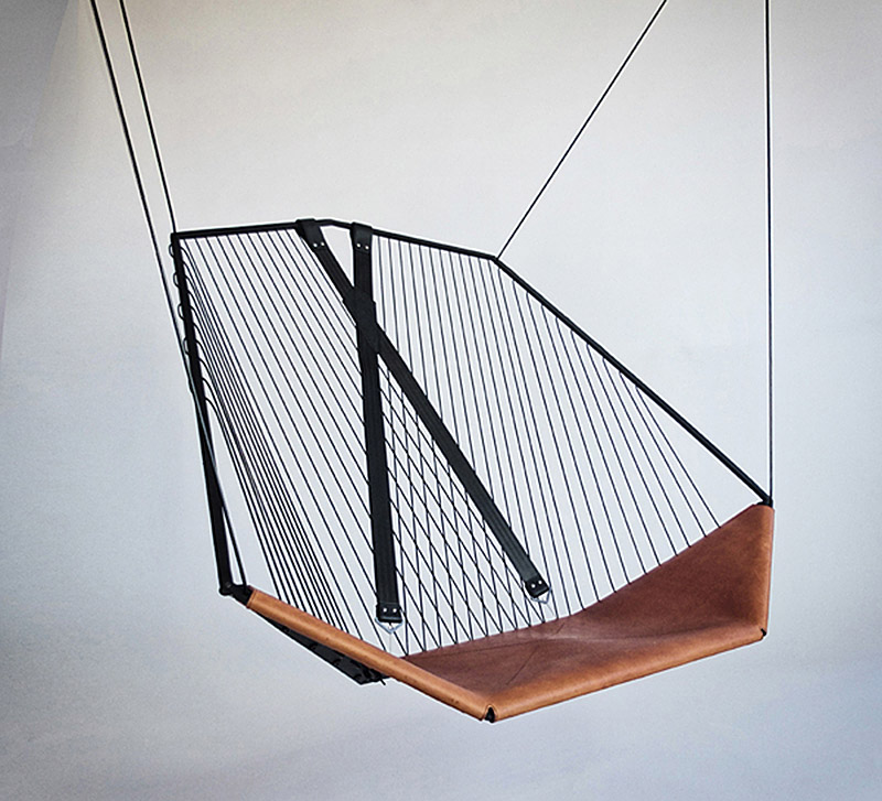 Delicieux The Solo Cello, A Modern Steel And Leather Hanging Chair By Felix Guyon.