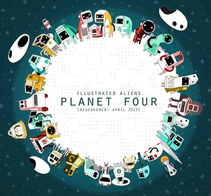illustrated aliens planet four