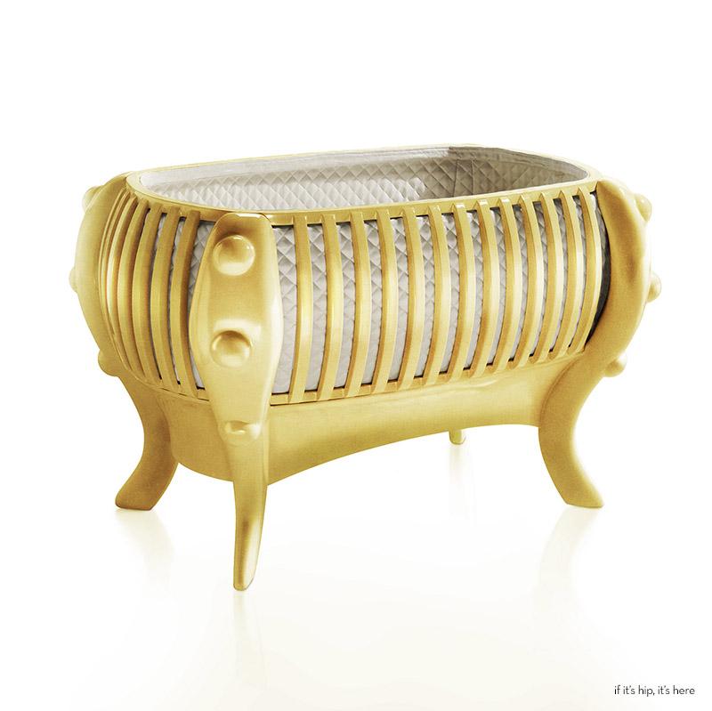 18k Yellow Gold Plated baby crib