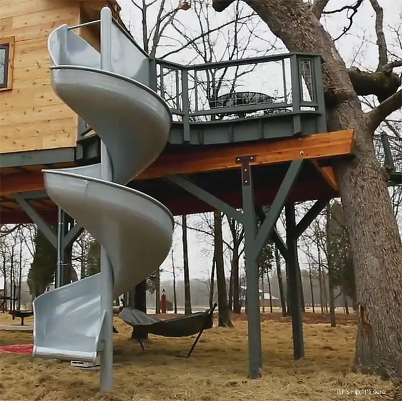 treehouse with corkscrew slide