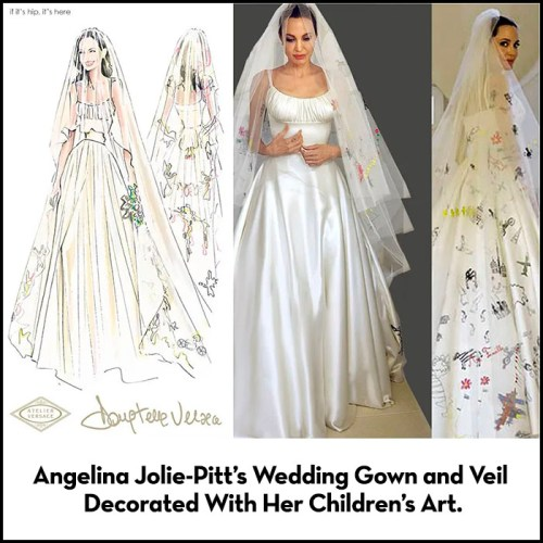 Read more about the article Angelina Jolie-Pitt's Wedding Gown and Veil Decorated With Her Children's Art.