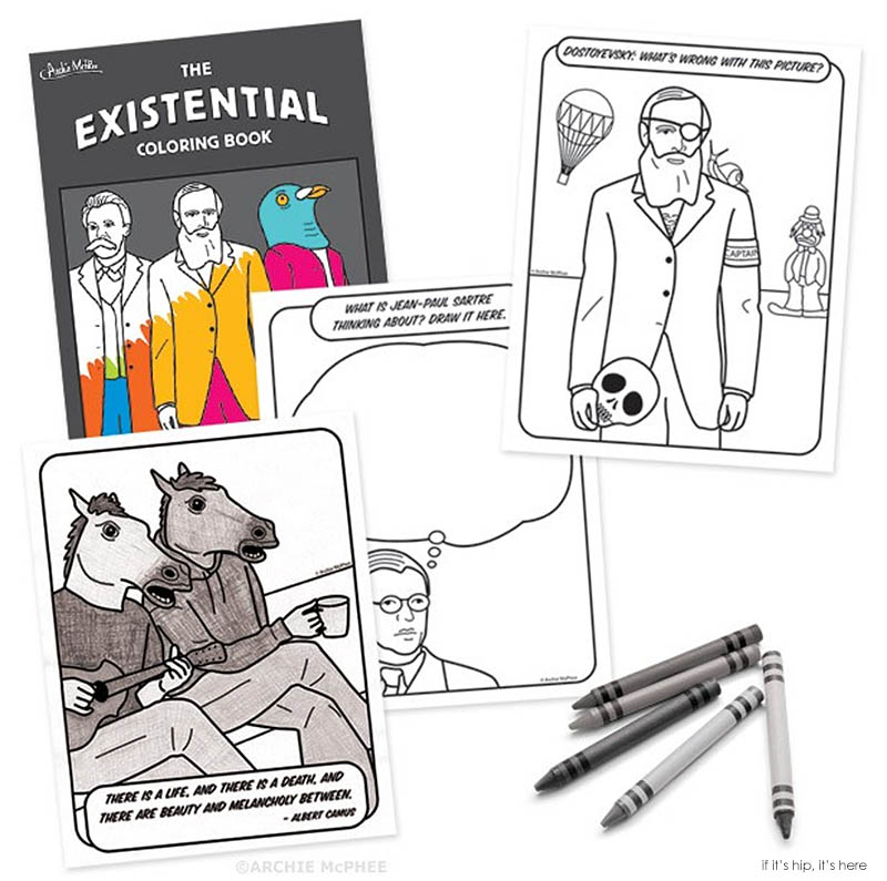 existential coloring book page samples