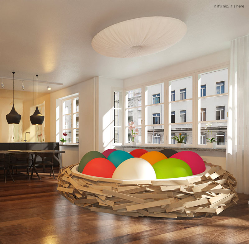 Nice Birdsnest With Solid Colored Egg Poufs IIHIH