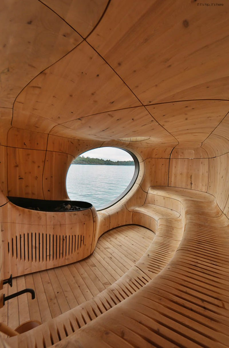 The Grotto Sauna is an Amorphic Prefab on the Edge of a Private Island  if it's hip, it's here