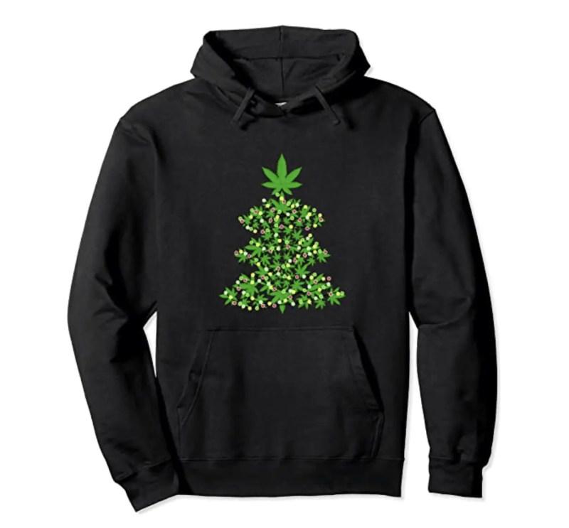 cannabis christmas tree hoodie