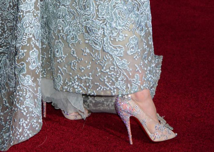 Lily-James-Christian-Louboutin-Cinderella-Slippers