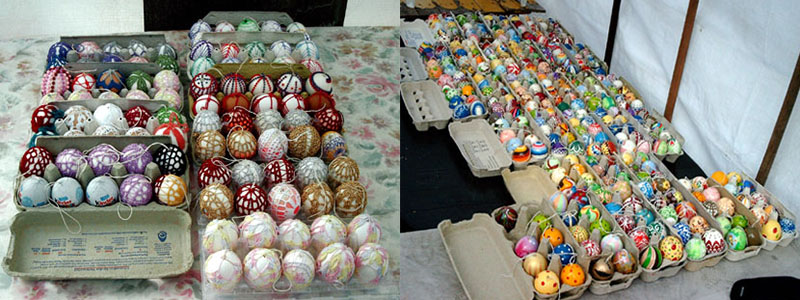 some crochet and painted eggs IIHIH