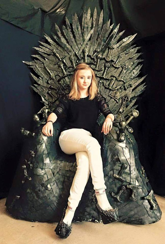 Kerrie Ingram (Princess Shireen Baratheon) wearing my Iron Throne heels on an AMAZING iron throne replica by prop maker Victoria Mclean