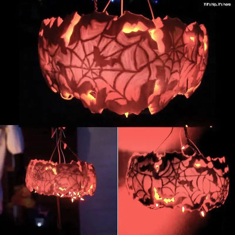 KP spiderweb pumpkin lamp