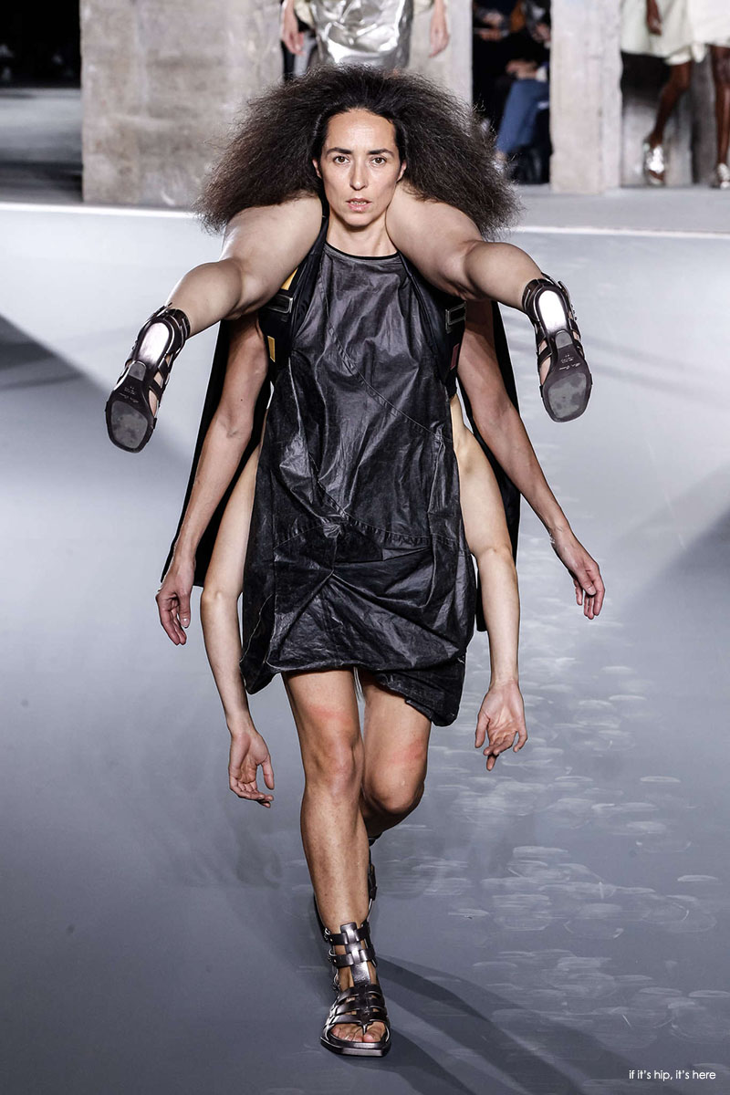 models carrying each other
